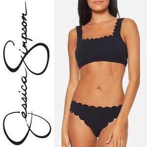 Jessica Simpson Black Scalloped Bikini Swimsuit